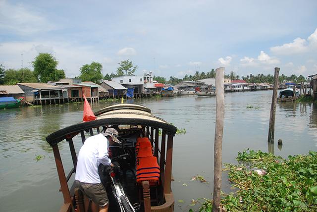 Vietnam Mekong fiets op boot